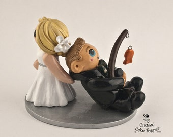 Bride and Groom Fishing Wedding Cake Topper