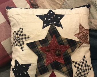 Primitive Patriotic Star Quilt Pillow