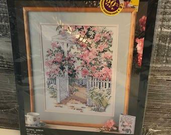 Vintage Bucilla Floral Arbor Needlecraft Cross Stitch Kit Stamped Cross-stitch New in Package Embroidery Floss Stitchery Garden Gate