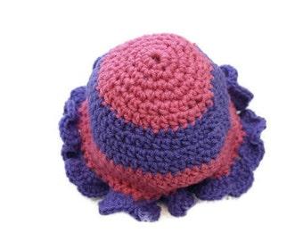 Crochet Toddler Hat, Girls Spring Cloche, Crochet Kids Hat, Infant Floppy Hat, Toddler Girl Beanie, Infant Hat, Ruffle Brim Hat