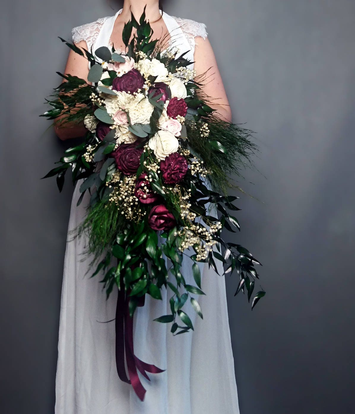Retro Boho Long Cascading Wedding Bouquet Burgundy Ivory