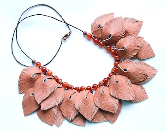 Brown necklace Leather necklace Boho necklace Gypsy style Statement necklace Bib necklace Leaf beaded necklace Tribal necklace