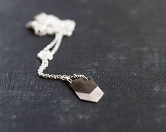 Geometric Arrow Necklace - Black and White Collection - Sterling Silver - Chain
