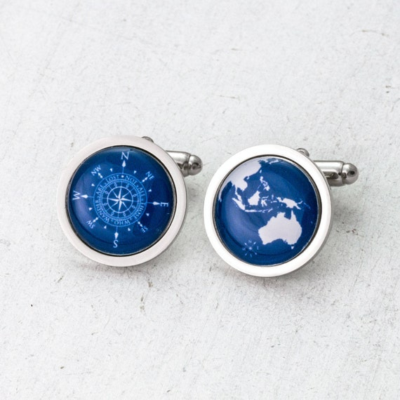 Personalised World and Compass Cufflinks