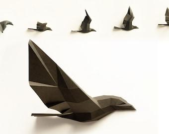 Paperwolf Vogelflug Bastelbogen - 5 Vögel zum Selberbauen, Raben, Krähen, PREMIUM