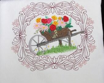 Embroidered Kitchen Towel Gardener's Wheelbarrow Flour Sack, Tea Towel, Waffle Weave
