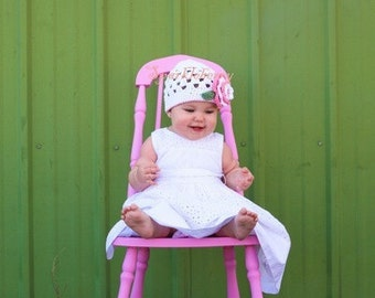 """Beanie Hat Crocheted """"The Gia""""White Rose Pink Sage Open Weave Beanie Girly Pretty Flower"""