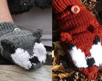 Grey Wolf/Red Fox Convertible Mittens Knitting Pattern PDF Download