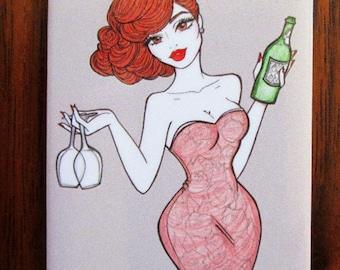 """Magnet: """"Scarlett"""" Pinup girl, vintage wine themed refrigerator magnet."""