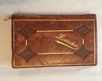 An Antique Limited Edition  'Lourdes' Manual of Catholic Prayers in English, Leather Bound, Made in France