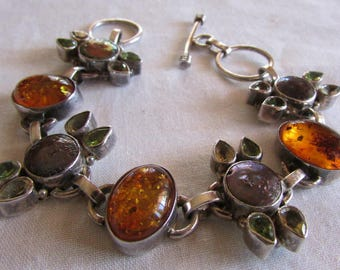 Sterling Silver Amber, Peridot, Citrine and Pearl Link Bracelet