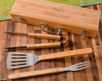 Personalized Barbecue Grilling Set, Engraved Monogram BBQ Tool Set in Bamboo Case, Grill Master Gift, Father's Day Gift, Dad Gift, Guy Gifts