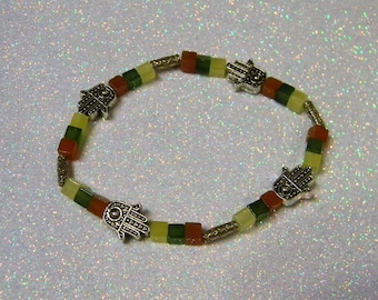Yellow, Green and Orange Gemstone Cube and Hill Tribe Tube Hamsa Bead Bracelet