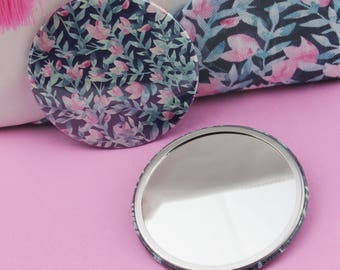 Pink Petal Floral Pocket Mirror - Compact Mirror - Stocking Stuffer