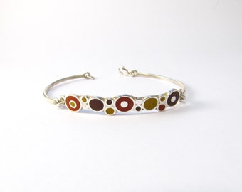 Sterling Silver Bracelet, Chocolate Maroon Mustard, Colorful Bubbles