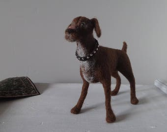 Miniature figurine of your dog Custom pet sculpture Needle felted Portrait of your pet Wool art Art & Collectibles Needle felted dog
