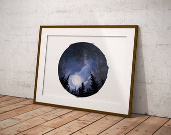Star Galaxy Tree Night Sky Watercolor Digital Download Printable
