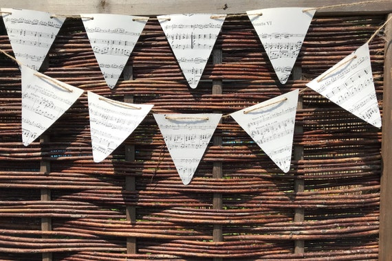 Music Score Paper Bunting using ethically sourced vintage music sheets. Birthday, Party, Event, Wedding Venue, Musical, Classic Bunting.