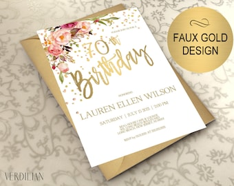 70th Birthday Invitation, Blush Gold Floral Birthday Party Invitation for Women, DIY Printable PDF Instant Download | VRD270BWT