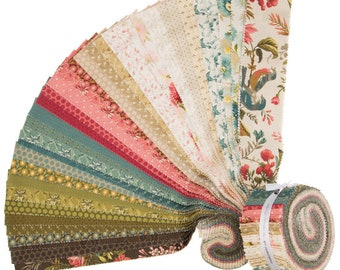 Andover Laundry Basket Quilts LBQ Edyta Sitar Sequoia Pink Green Cream Jelly Roll 40 2.5 Inch Strips Fabric