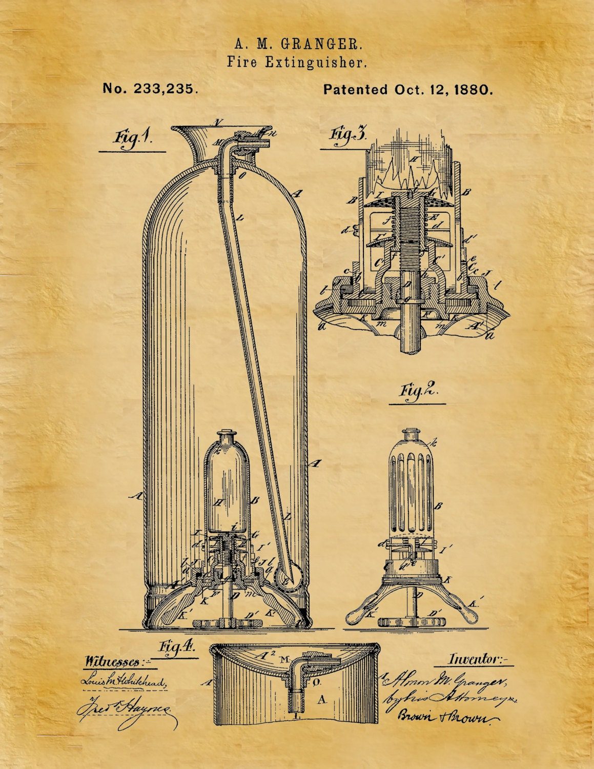 Patent 1880 Fire Extinguisher - Art Print - Poster - Wall Art - Fire ...