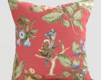 P. Kaufmann Designer Tropical Pillow // Monkey Cushion Cover Decorative Throw Pillow Palm Beach House Decor, Coastal Pillows, Accent Pillow