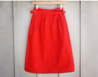 Vintage Nautical Skirt - 90s Grunge Skirt - 80s A Line Skirt - Red Sailor Skirt - Retro Mod Skirt - Pin Up Skirt - Rockabilly Skirt - Midi