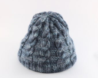 Cable Grey and Blue Baby Alpaca Blend Toque