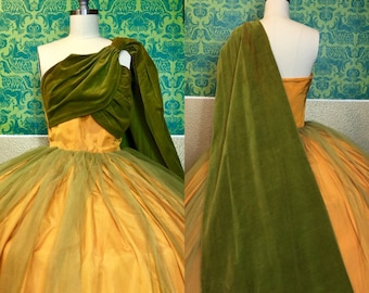 Vintage 1950s Dress - Exquisite Green & Yellow Ball Gown - M