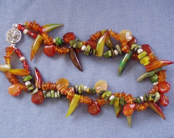 Modern Tribal Rainforest Hues Natural Gemstone multistrand  Necklace SALE!
