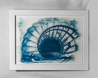 Vintage spiral staircase cyanotype (decoration) A4