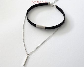 Choker chain necklace pendant black silver