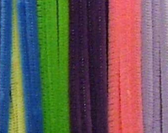 "100, 6mm, Spring Bright Chenille Stems, Pipe Cleaners, 12"" Long"