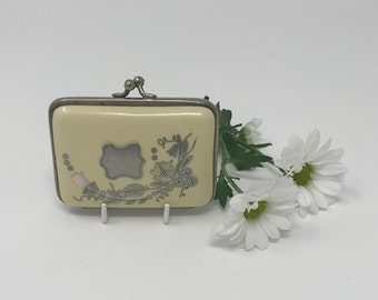 Antique Victorian Expandable Coin Purse - 1880s Celluloid Purse with Inlaid Floral Design in Silver and Mother Of Pearl