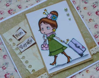 BON VOYAGE - Handmade blank greeting card with pretty tourist girl