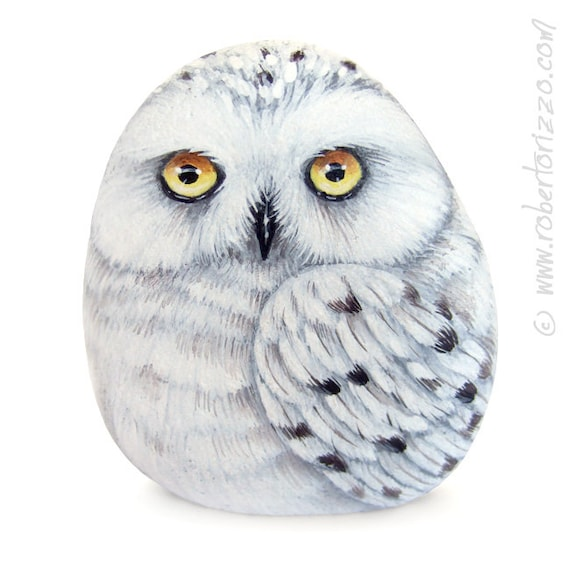 Stone Painted Snowy Owl Rock Painting Art by Roberto Rizzo