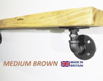 Industrial chic, reclaimed wood shelf