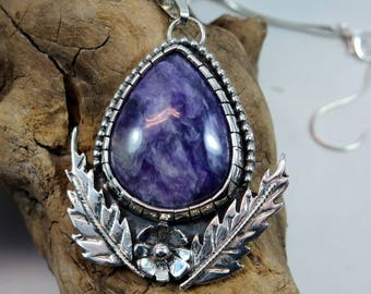 Charoite & Sterling Silver Statement Necklace. Healing Stone, Bohemian Crystal, Charoite Jewelry, Healing Necklace