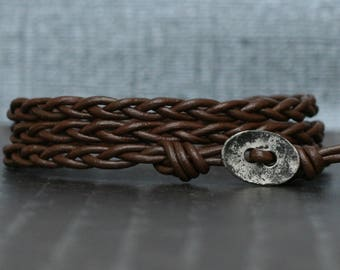 dark brown braided leather wrap bracelet with distressed silver button - simple bohemian jewelry - casual jewelry