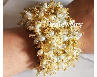 baroque bridal bracelet, bead embroidered bracelet, beaded bracelet, bridal pearl bracelet, cuff bracelet, wedding, dolce gabanna bracelet