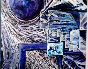 Blue Maze- MJ Original Mixed Media Abstract  2'x3' Painting, Gallery Wrapped, Signed OOAK