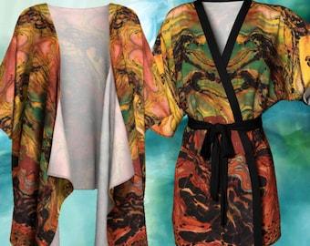 Thunderstorm  Kimono Cardigan - Horse Caught in the Thunderstorm Batik
