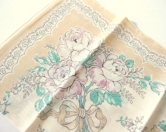 Vintage Handkerchief Tan with Pale Pink Roses