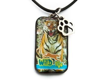 Tiger Necklace 19 x 34 mm necklace chain pendant necklace charm undomesticated cat predator Jaguar Lion Panter Leopard