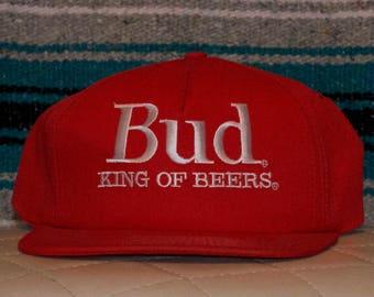 Bud King of Beers Red Hat Cap Budweiser Snapback Adjustable