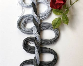 "Size 20 ""Grayscale"" hand dyed thread 6 cord cordonnet tatting crochet cotton"