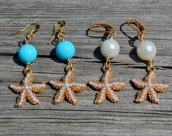 Starfish and pearl gold dangle earrings, beach wedding, pearl jewelry, white pearl, turquoise pearl bridesmaids gifts, starfish earrings