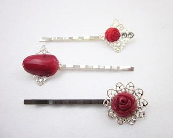 Red Hair Pin -- Coral Hair Pins -- Red Rose Hair Pins -- Red Bobby Pins -- Red Hair Accessories -- Gemstone Hair Pins -- Flower Hair Pins