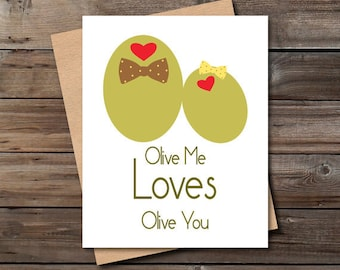 funny valentine card olive you download cute unique anniversary love card for him her kitchen wall art decor jpg PRINTABLE instant download