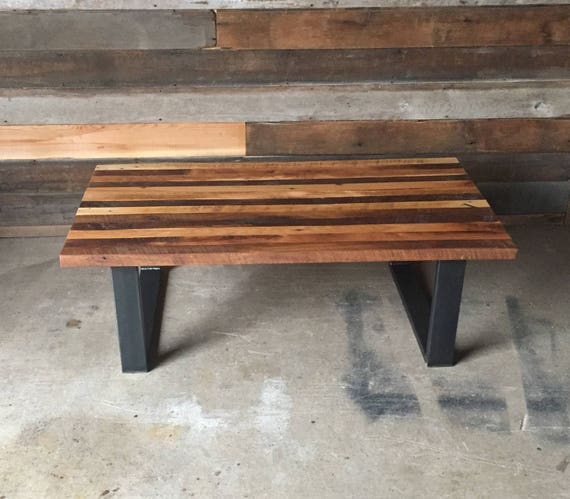 Make A Reclaimed Wood Coffee Table: Butcher Block Coffee Table Made With Reclaimed Wood And Steel
